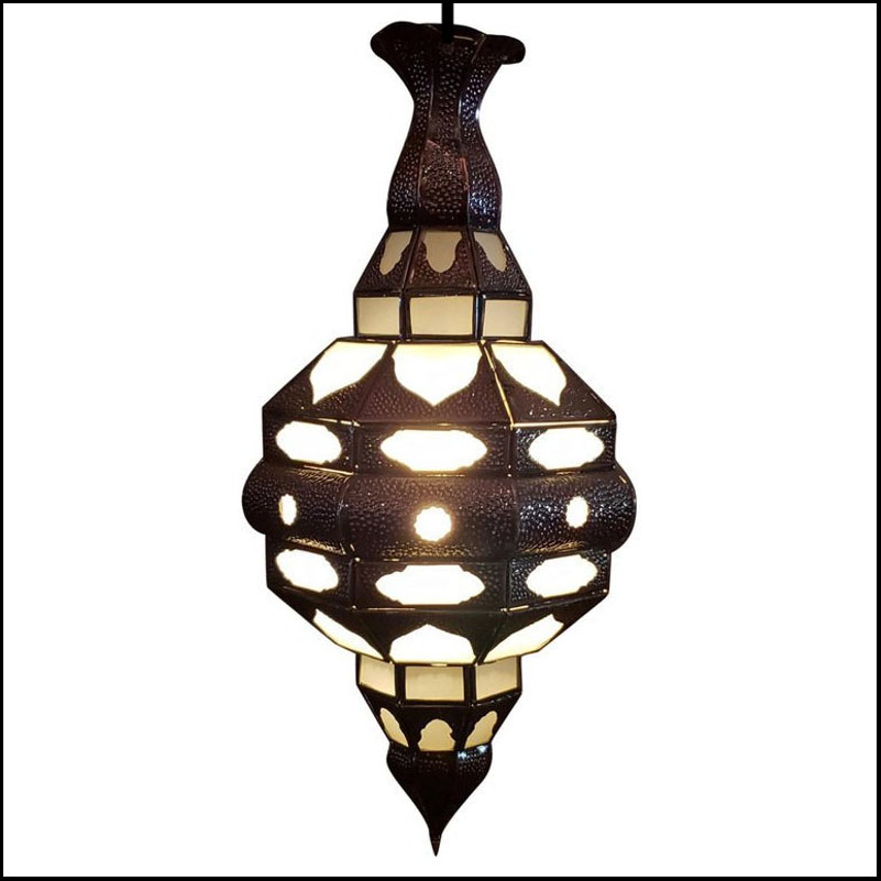 Moroccan Glass Lantern, EL Makki Style, All Frosty White Glass