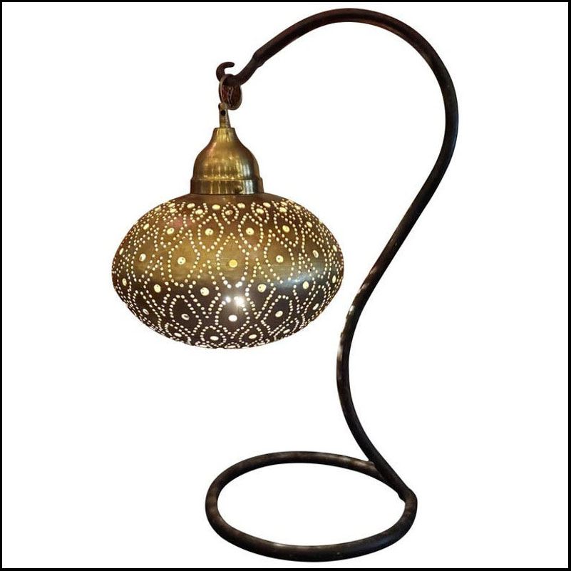 Intricate Moroccan Copper Table Lamp or Ceiling Lantern, Secoupe Shape