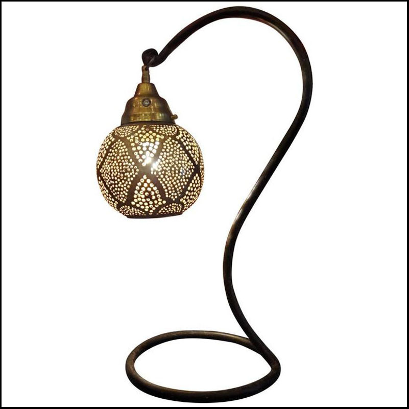 Intricate Moroccan Copper Ceiling Lamp or Table Lantern, Base Optional