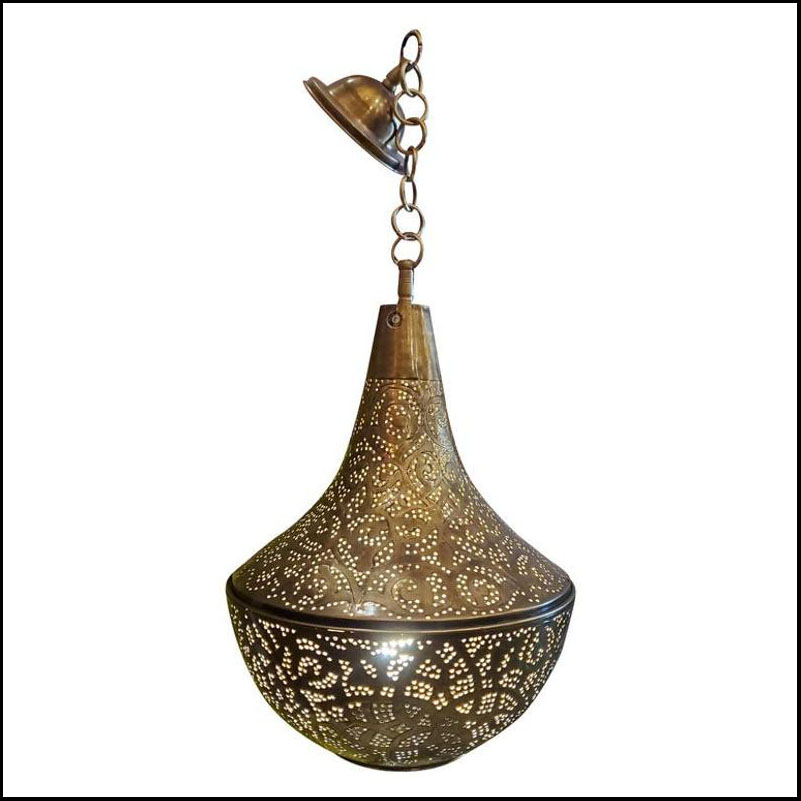 Intricate Moroccan Copper Ceiling Lamp or Lantern, Pear Shape
