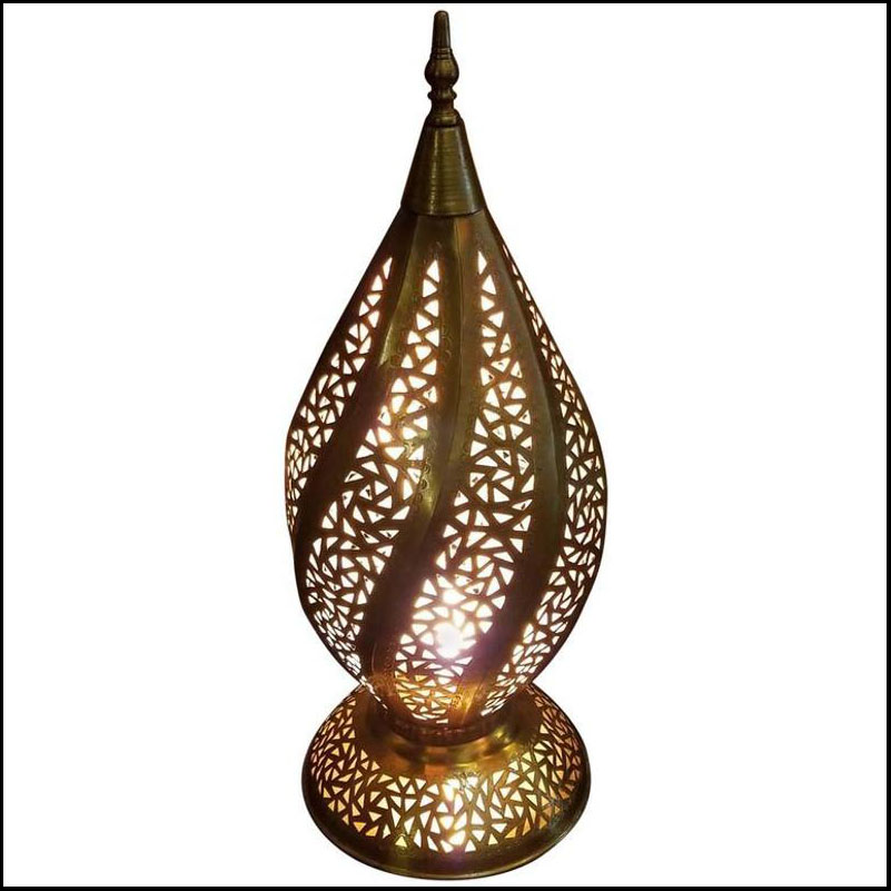 Spiral Shape Moroccan Copper Table Lamp