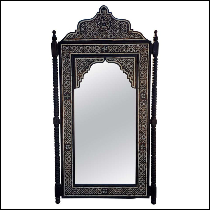 Moroccan K Mirror, Framed with Ivory Dye Camel Bone