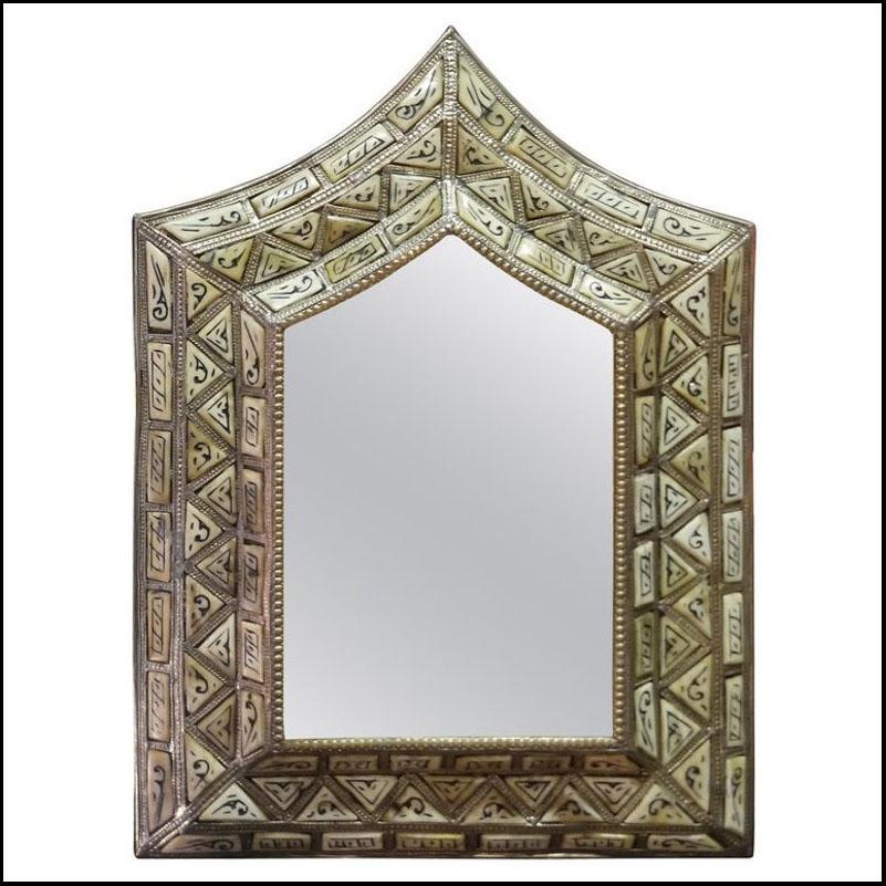 Arched Ivory White Camel Bone Mirror, Beveled.