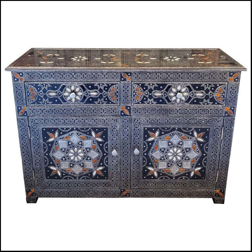 Metal Inlaid Moroccan Cabinet, Bone and Resin Inlay