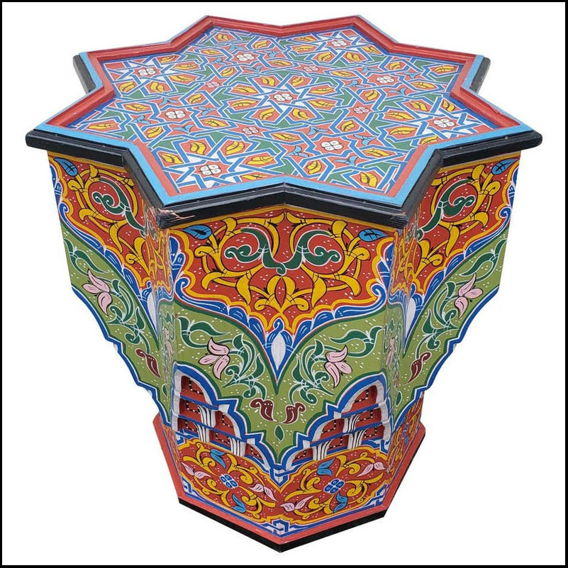 LG Ceuta 4 Painted and Carved Moroccan Star Table, Multi-Color