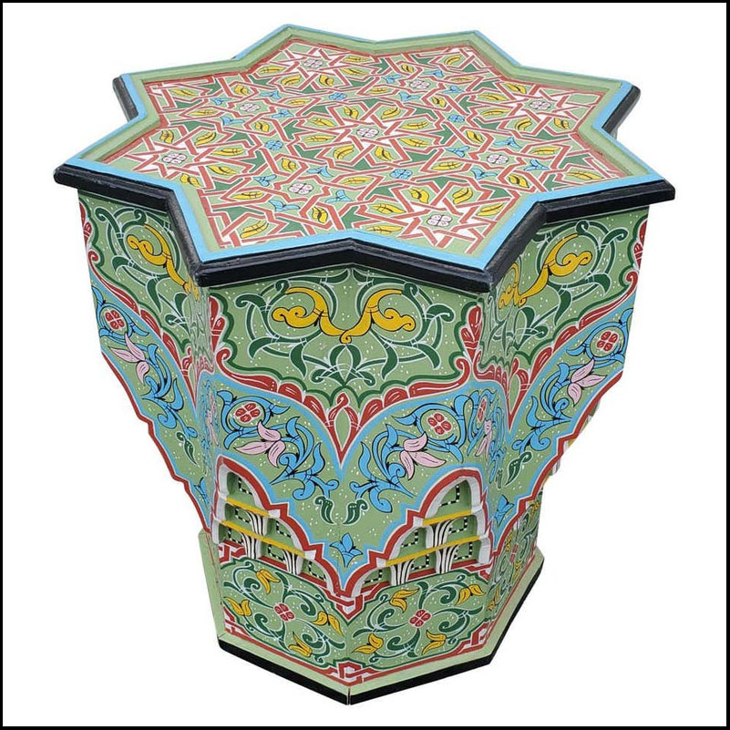 LG Ceuta 3 Painted and Carved Moroccan Star Table, Multi-Color