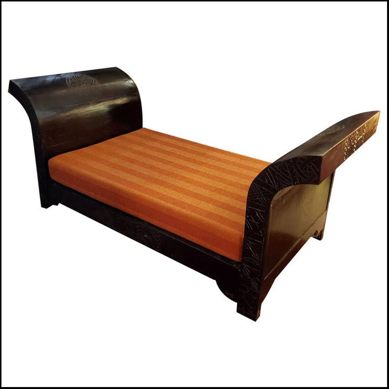 Moroccan Hand Carved Wooden Bench, Meridian Style