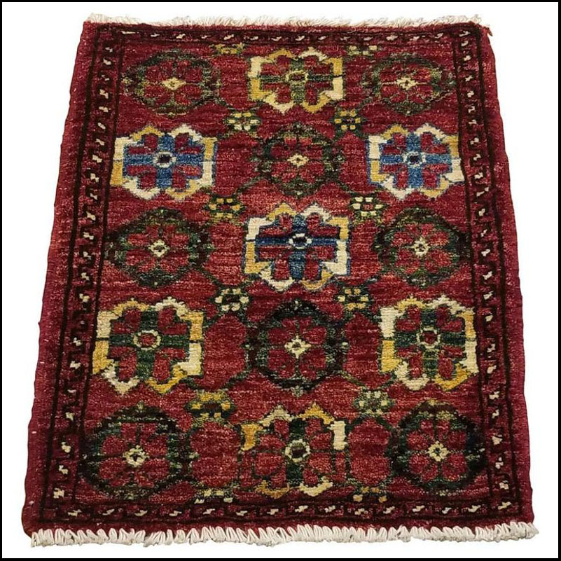 Small Asian Bedside Carpet from Afghanistan, Colorful / 307