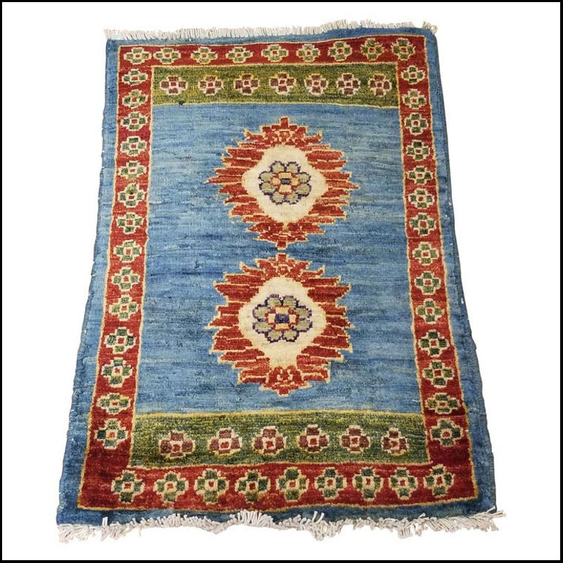 Small Asian Bedside Rug from Afghanistan – Colorful / 309
