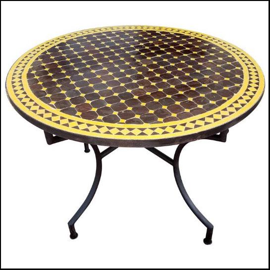 40″ Diam. Brown / Yellow Moroccan Mosaic Table – Cora