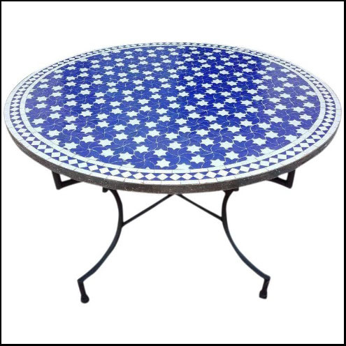 48″ Diam. Blue / White Mosaic Mosaic Table – Rafraf