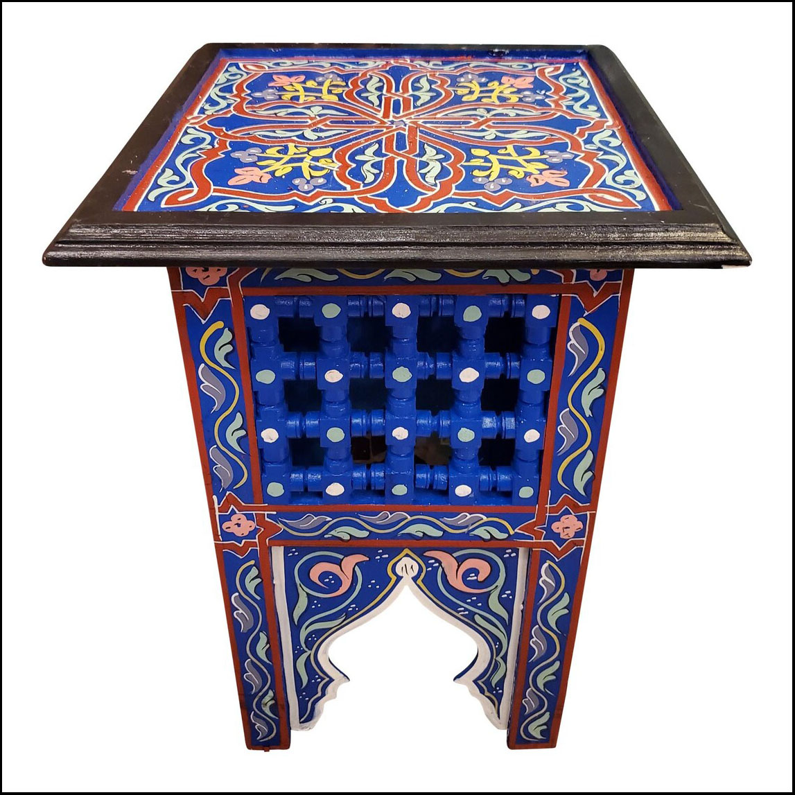 Moroccan Square Wooden End Table, Hand Painted Blue