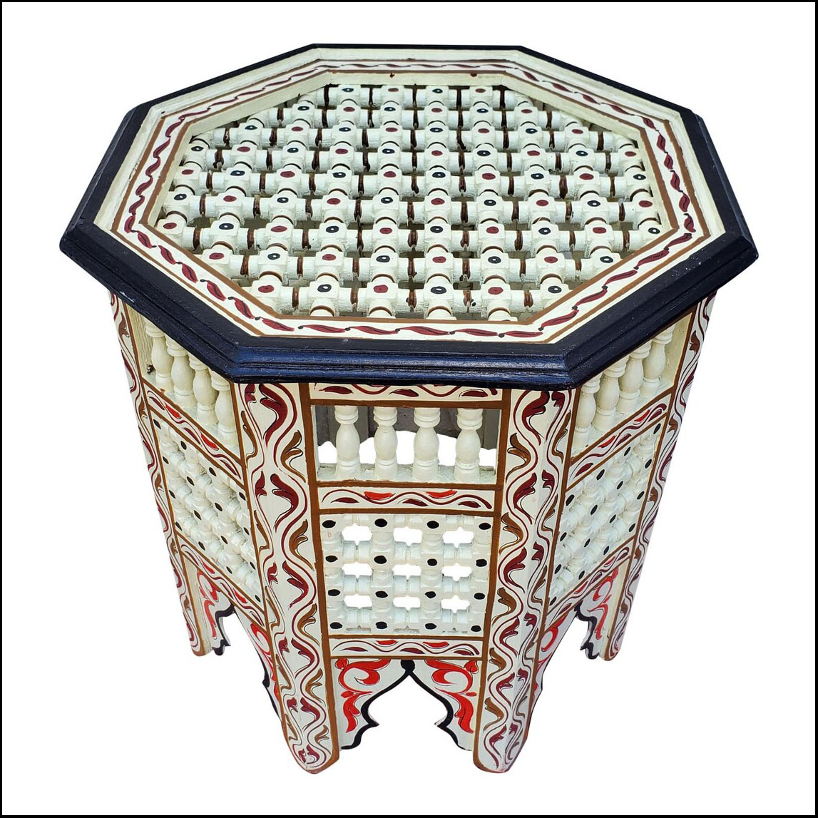 Moroccan Octagonal Wooden Side Table, Musharabi Off White