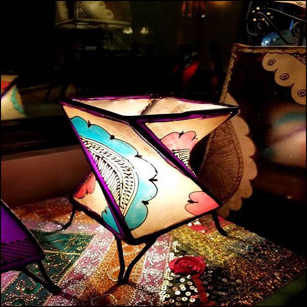 14″ Twist Multicolor Moroccan Goat Skin/ Henna Lamp
