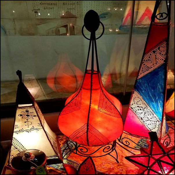 27″ All Orange Moroccan Goat Skin  / Henna Lamp