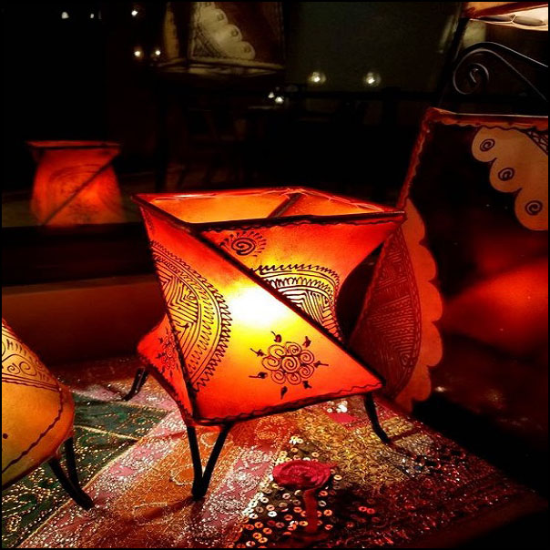 14″ Twist Orange Moroccan Goat Skin / Henna Lamp.