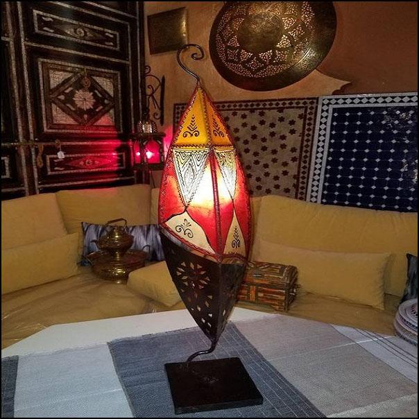 31″ Fish Style Multicolor Moroccan Goat Skin / Henna Lamp