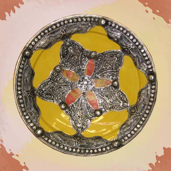 Yellow Metal Inlaid Plate