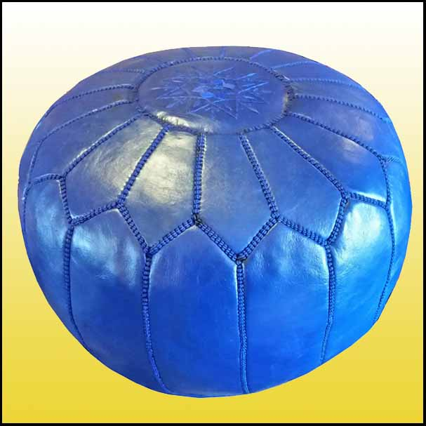 ALL Blue Moroccan Leather Pouf