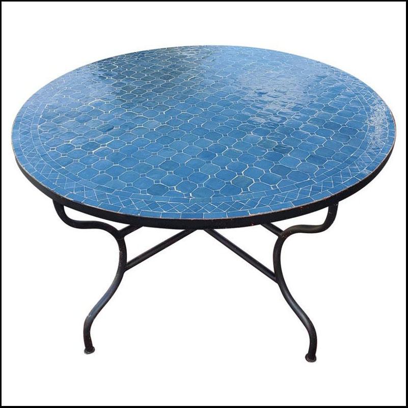 48″ Diam. Tango Blue Moroccan Mosaic Table