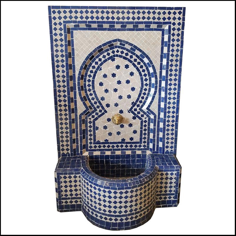 White / Blue Moroccan Mosaic Fountain – Rafraf