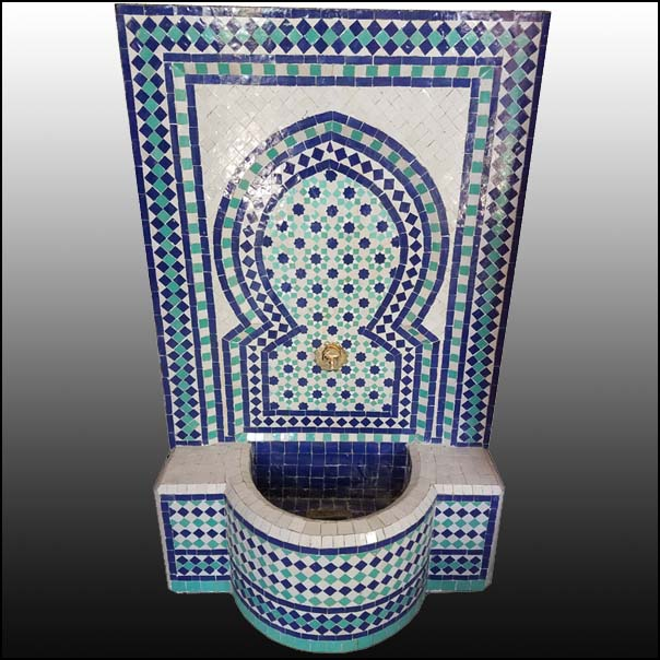 Blue / White / Aqua Moroccan Mosaic Fountain