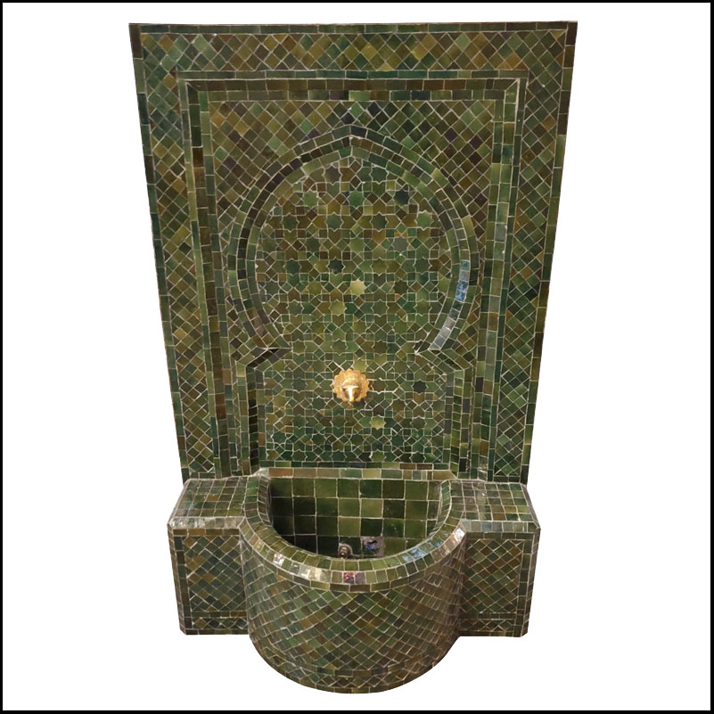 Tamegroute Green Moroccan Mosaic Tile Fountain