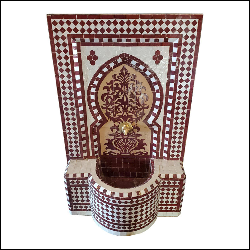Burgundy And Tan Moroccan Mosaic Fountain – Tree of Life