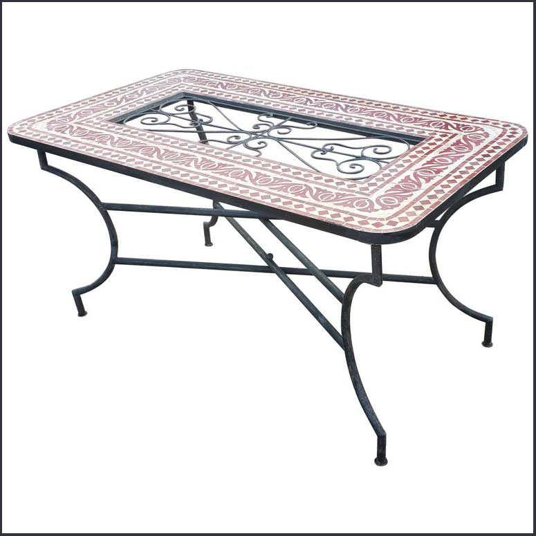 60″ x 32″ Beige / Burgundy Moroccan Mosaic Table – Iron Island