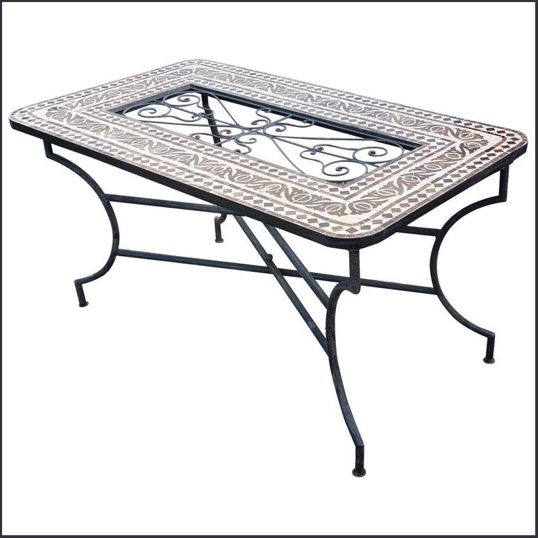 60? x 32? Beige / Brown Moroccan Mosaic Table – Iron Island