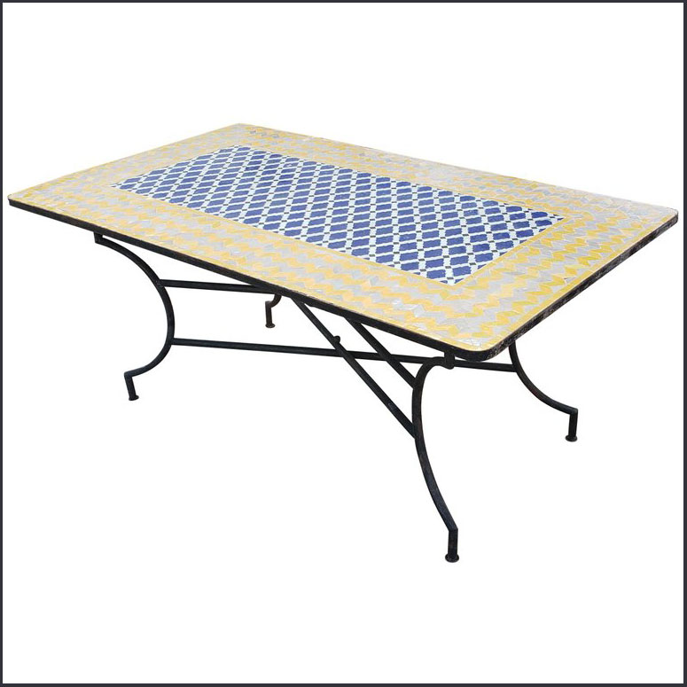 70″ x 40″ Blue / White / Yellow Moroccan Mosaic Table
