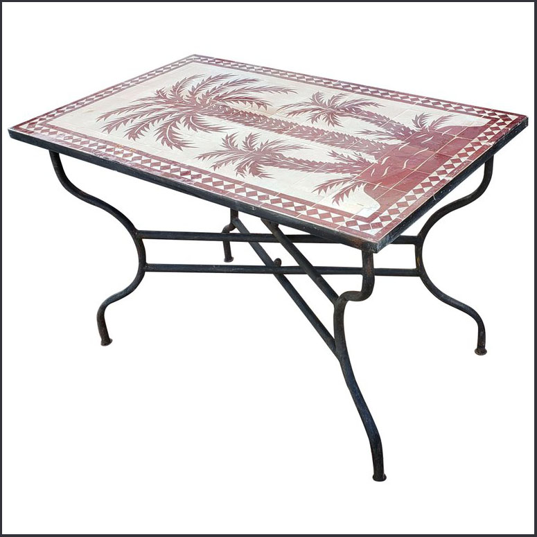 48″ x 28″ Burgundy / Natural Moroccan Mosaic Table – Tree of Life