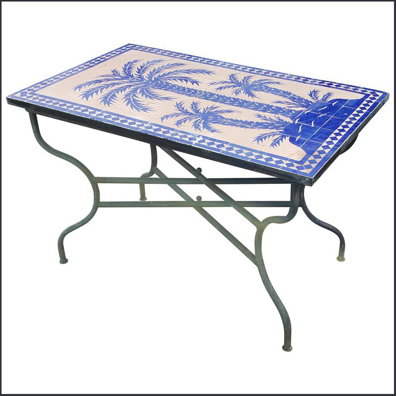 48″ x 28″ Blue / Natural Moroccan Mosaic Table – Tree of Life