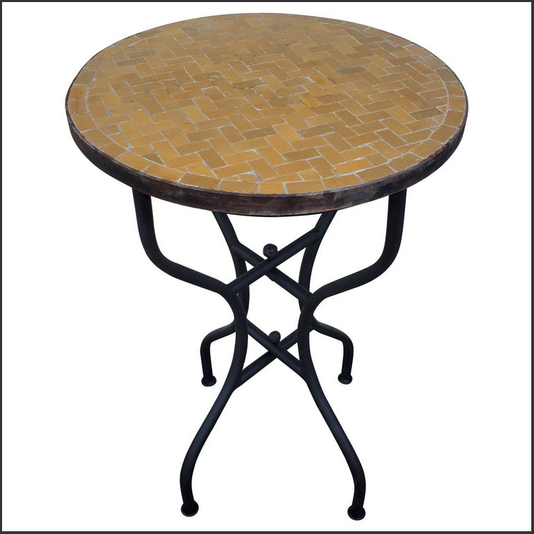 20″ All Mustard Moroccan Mosaic Table