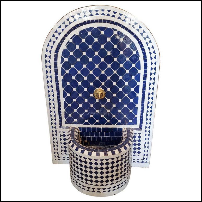 Agadir Blue and White Moroccan Mosaic  Fountain