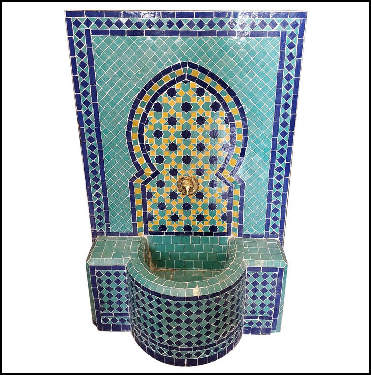 Blue Green And Yellow Moroccan Mosaic Fountain