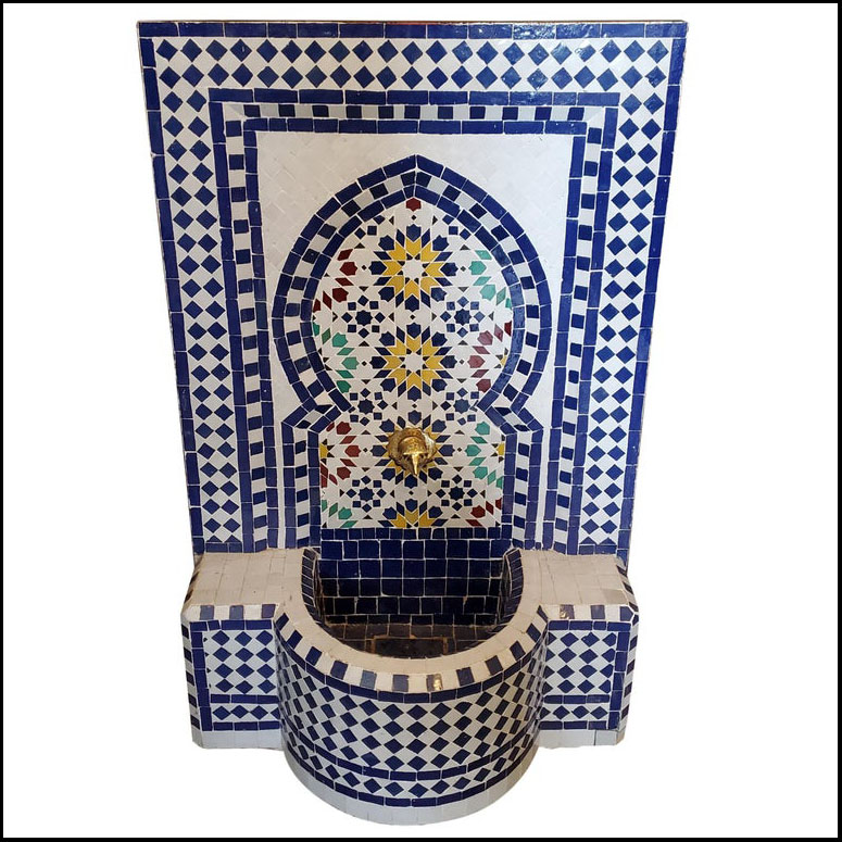Forest Blue Moroccan Mosaic Fountain – 100% Glazed