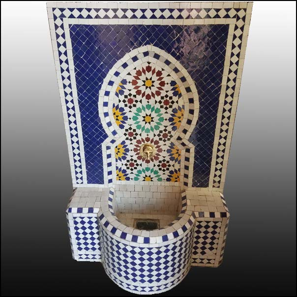 Cobal Blue Moroccan Mosaic Fountain