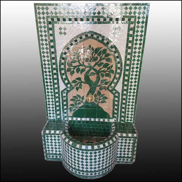 Green Tree Of Life Moroccan Mosaic Fountain
