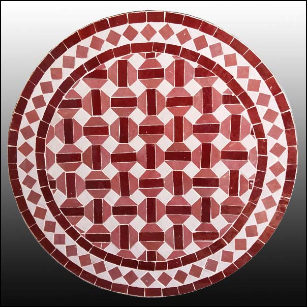 24″ Red / White Moroccan Mosaic Table