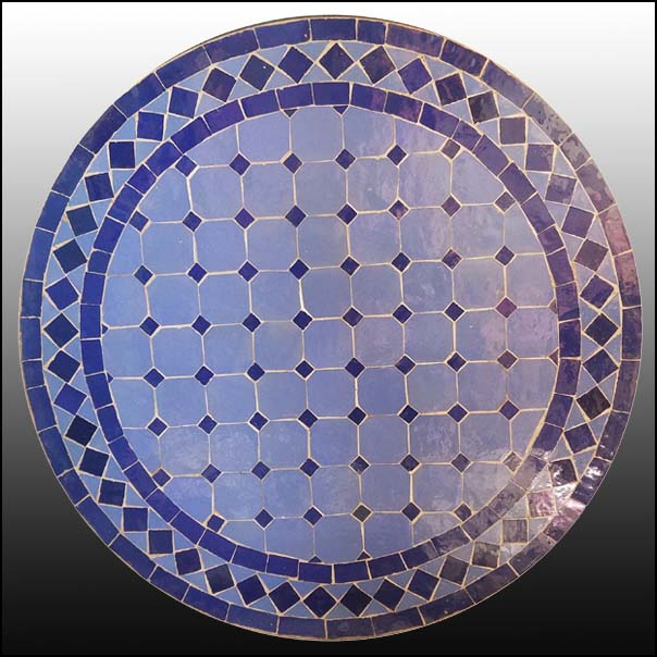 24″ Blue / Blue Moroccan Mosaic Table