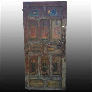 Asian Moroccan Multicolor Door Vintage & Moroccan Moorish Carved Door | Moroccan Camel Hand Painted Door