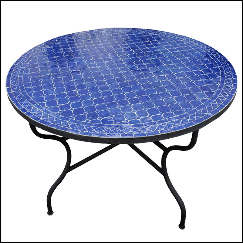 48″ Diam. Cobalt Blue Moroccan Mosaic Table