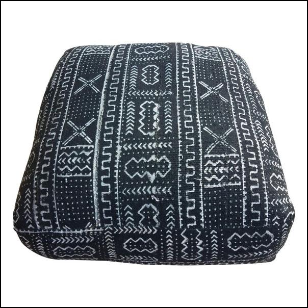 Moroccan Malian Mudcloth Pouf or Ottoman, Black