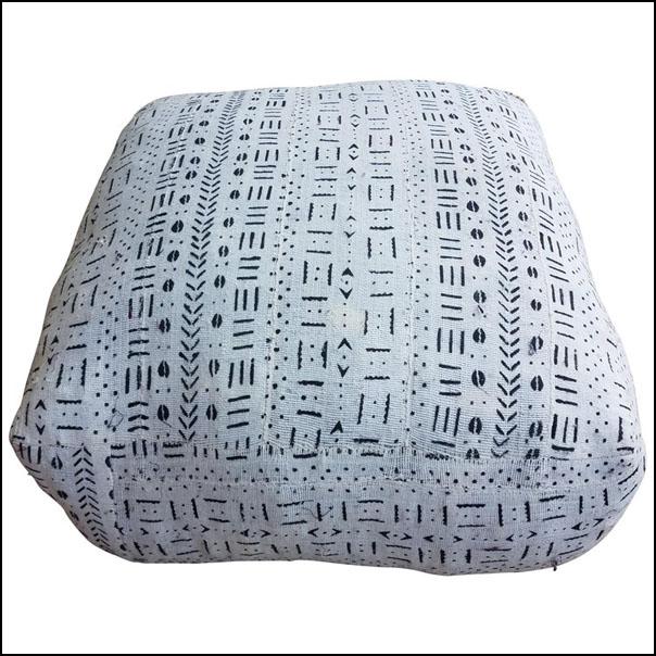Moroccan Malian Mudcloth Pouf or Ottoman, White