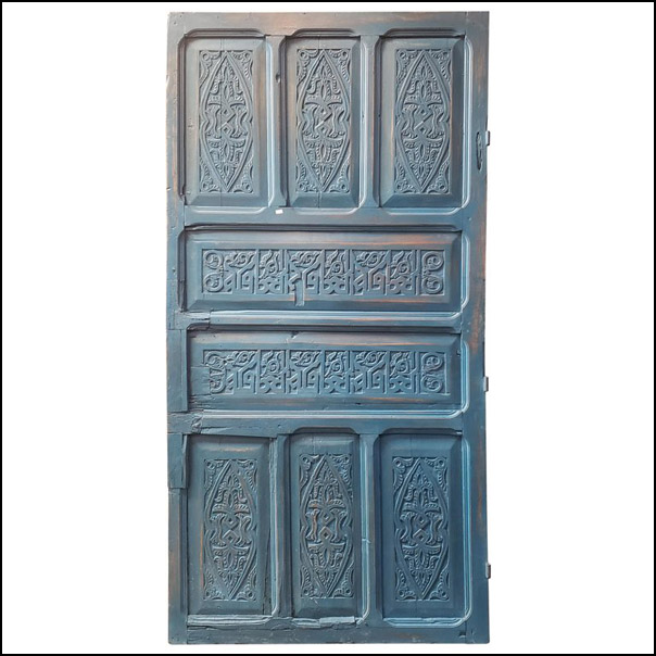 Old Blue Moroccan Wooden Door