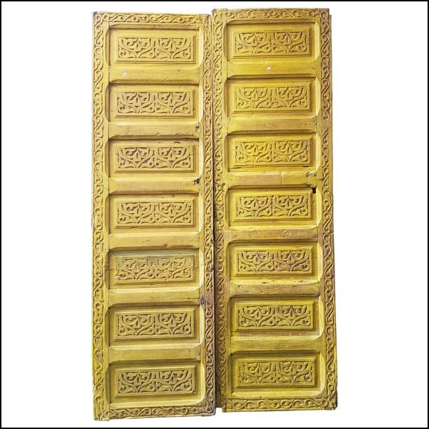Double Panel Moroccan Wooden Door, Yellow