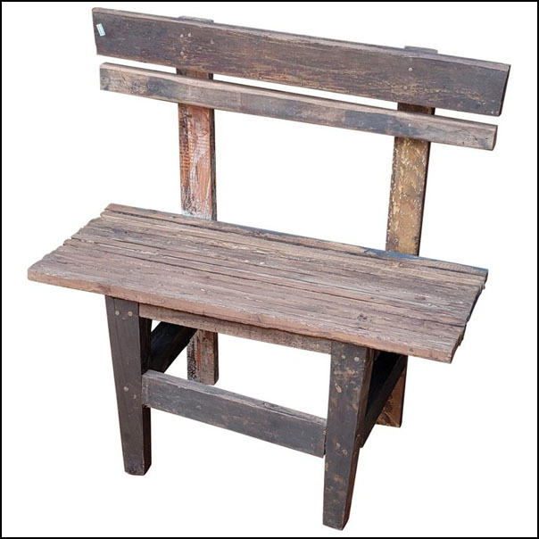 Moroccan Handmade Old Wood Park Bench, 1 Seat