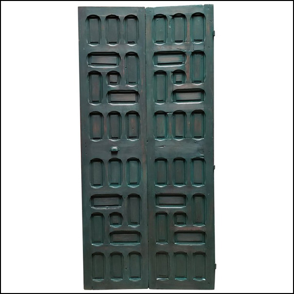 Double Panel Moroccan Wooden Door, Hunter Green