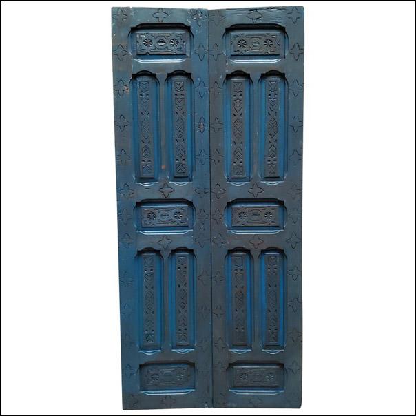 Double Panel Moroccan Wooden Door, True Blue